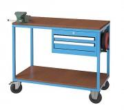 Servante atelier 2 plateaux à étau et multiprise - Charge par tiroir : 50 kg