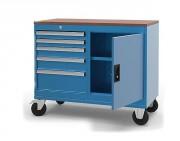 Servante atelier 5 tiroirs à coffre - 5 tiroirs à poignées - 1 coffre avec étagère