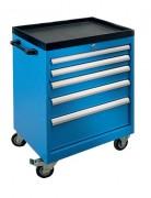 Servante atelier monobloc 5 tiroirs - 2 roulettes fixes + 1 mobile SF + 1 mobile avec frein