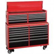 Servante d'atelier et coffre à outils - Combiné servante d'atelier 14 tiroirs et coffre à outils 10 tiroirs