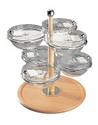 Serviteur à céréales tournant 6 bols - Plateau tournant - 6 bols en verre - Poids: 7,3 kg - Dimensions: (Diamètre x Hauteur): 48 x 60 cm