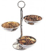 Serviteur apéritif 3 bols inox 18/10 - 3 bols de 12 cm (diamètre) - Poids: 0,62 kg - Hauteur: 30 cm