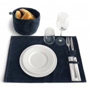 Set de table en tissus - 100% coton denim- Finition lavée - Couleurs : deep blue denim
