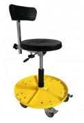 Siège atelier amovible - 5 roulettes   -   bac métallique à outils