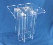 Socle piédestal en verre acrylique - Piétement élévateur support entièrement transparent
