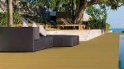 Sol extérieur en bois et PVC - Revêtement sol haute résistance à l'humidité