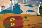 Sol récréatif amortissant - Composés de granulats de caoutchouc teintés mélangés