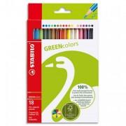 STABILO GREENColors Etui de 18 crayons de couleur – Bois certifié FSC et finition vernis mat - Stabilo