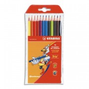 STABILO Pochette de 12 crayons de couleur corps triangulaire coloris assortis TRIO - Stabilo