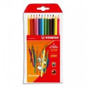 STABILO Pochette plastique de 10 crayons de couleur assortis+2 fluo 17,5cm COLOR - Stabilo