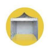Stand événementiel hexagonal - En acier à haute résistance et en aluminium aviation - Toile enduite