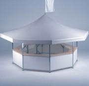 Stand octogonal pliable - Peut accueillir 40 personnes (56 avec les extensions)