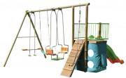 Station de jeux en métal pour enfants - Dimensions hors tout (L x l x H) cm : 410 x 418 x 250