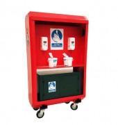 Station désinfection des mains pour Chantier - Dimensions : 1235x500x1850mm - Capacité :2 x recharges 750ml de désinfectant