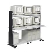 Station lan pour 2 Ucs et 2 écrans - 146 cm - noir / gris clair -88521