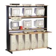 Station lan pour 6 UC et écrans - 183 cm - Hêtre /noir -90303