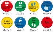 Stickers distances COVID - 3 diamètres - 8 messages - 4 couleurs - lots de 5