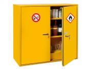 Stockage : armoire pour produits dangereux - 2 portes - Armoire à fermeture automatique des portes - Dim. (H x L x P) : 110 x 120 x 52 cm - Rétention totale : 82L