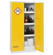 Stockage de produits dangereux : armoire sécurisée pour multiples produits - Armoire haute de 2 portes - 3 étagères de 25L/étag. - 1 bac de rétention de 47L