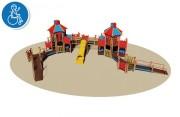 Structure mulijeux pour enfants handicapés - Dimensions (L x P x H) cm :  1685 x 1170 x 455