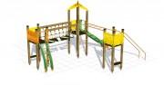 Structure multi-jeux d'extérieur - Dimensions (L x P x H) cm : 590 x 420 x 350