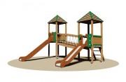 Structure multi-jeux d'extérieur enfants - Dimensions (L x P x H) cm : 466 x 480 x 395