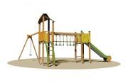 Structure multi jeux d'extérieur pour enfants - Dimensions (L x P x H) cm : 680 x 550 x 350