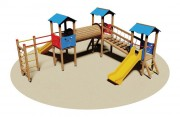Structure multi jeux en bois - Dimensions (L x P x H) 310 x 735 x 315 cm