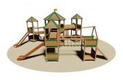 Structure multi-jeux en bois - Dimensions (L x P x H) cm : 1200 x 1250 x 485
