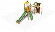 Structure multi-jeux en bois enfants - Dimensions (L x P x H) cm : 615 x 220 x 350