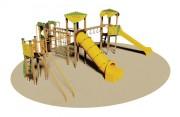 Structure multi-jeux en bois pour enfants - Dimensions (L x P x H) cm : 670 x 920 x 350