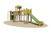 Structure multi jeux en plein air - Dimensions (L x P x H) cm : 905 x 225 x 350