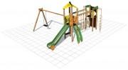 Structure multi-jeux plein air - Dimensions (L x P x H) cm : 610 x 560 x 350