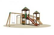 Structure multi-jeux pour enfants - Dimensions (L x P x H) cm : 656 x 820 x 395