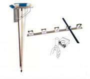Support balais inox - Fabrication : Tout inox AISI 304L-  A fixer au mur- Dim ( L x l x H ) : 120 x 470 x 300 mm