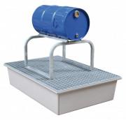 Support de fûts horizontal - Matière : acier galvanisé - pour 1 ou 2 fûts