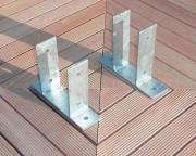 Support de poteaux à fixer - Modèle carré - Hauteur (cm) : 15 - 20 - 23