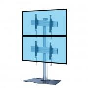 Support double écrans superposés - 2 modèles proposés : à base plate ou à roulettes