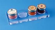 Support plexi pots de confiture - Plexiglas épaisseur 1.5 cm - Dimensions: 20/8 cm - Lot de 5 pièces