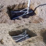 Support pour poteaux de beach volley - Matière : Contreplaqué munies de fourreau aluminium