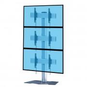 Support TV colonne 3 écrans 45 à 55 pouces - 2 modèles proposés : à base plate ou à roulettes