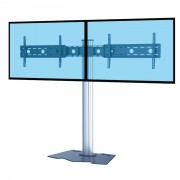 Support TV colonne pour 2 écrans 37 à 70 pouces - 3 modèles proposés : à base plate, à base fixe, à roulettes