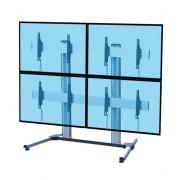 Support TV colonne pour 4 écrans 45 à 55 pouces - 2 modèles proposés : avec ou sans roulettes
