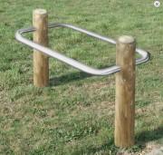 Support vélo en bois 2 places - Hauteur hors-sol : 600 mm