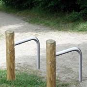 Support vélo en bois solo - Hauteur poteau hors-sol : 1000 mm