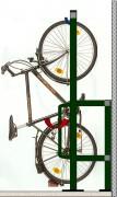 Support vélo mural vertical 6 à 10 places - Arceaux antivol sur cadre et roue arrière