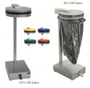 Supports sac poubelle - Matière : Inox - Hauteur: 755 - 1015 mm- Capacité: 50 à 100 / 110 à 130 L