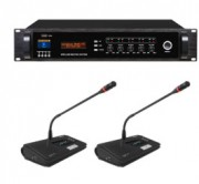 Système de micros sans-fil HF pour salle de conférence - Ensemble récepteur HF, microphones, chargeur de batterie