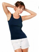 T-shirt personnalisé sans manches femme côte - Tee-shirt personnalisable sans manches femme côte 1x1