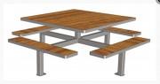 Table à 4 bancs de jardin - Table 8 places avec 4 bancs attachés